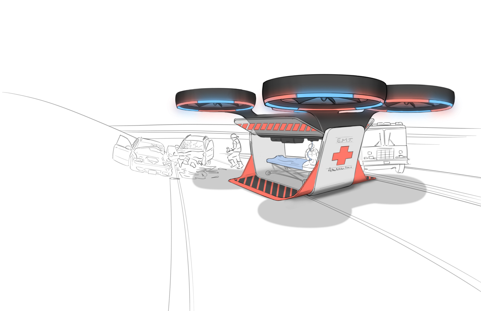 drawing of a flying ambulance drone concept